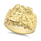 14k Gold Plated Nugget Statement Ring - Choose Your Color (Black/Gold/Rose Gold/Rhodium) & Size (7-14) + Bonus Polishing Cloth