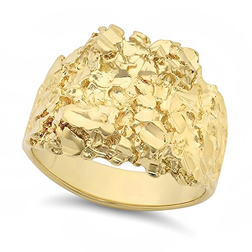 The Bling Factory Large 21mm 14k Yellow Gold Heavy Plated Chunky Nugget Textured Ring, Size 13