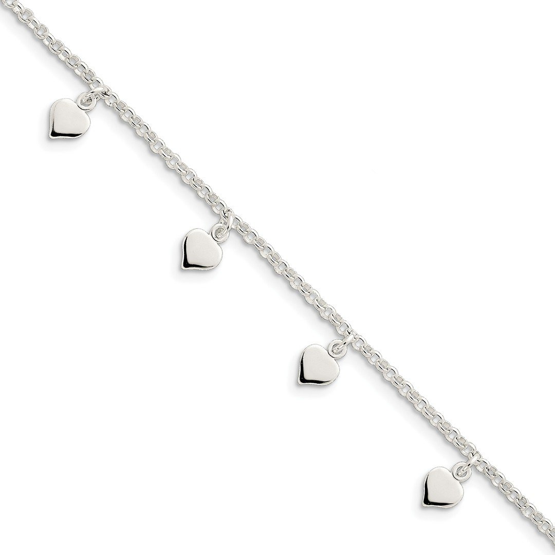 Ankle Bracelet Foot Jewelry Anklet - ICE CARATS 925 Sterling Silver Hearts Anklet Ankle Beach Chain Bracelet Fine Jewelry Ideal Gifts For Women Gift Set From Heart