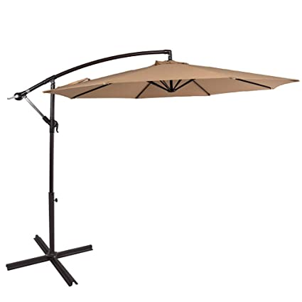 sundale outdoor 10 feet aluminum offset patio umbrella with crank and cross bar set cantilever - Umbrella Patio