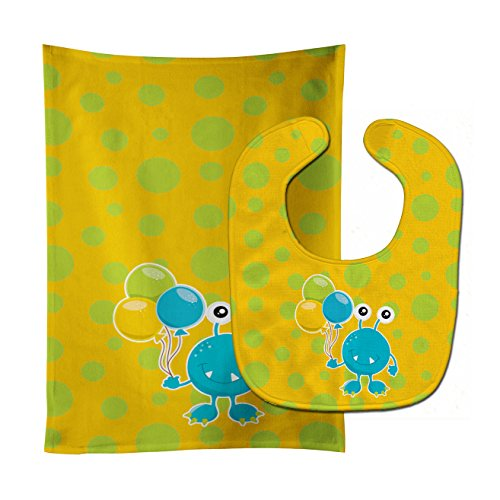 Caroline's Treasures Birthday Monster with Balloons Baby Bib & Burp Cloth, Multicolor, Large