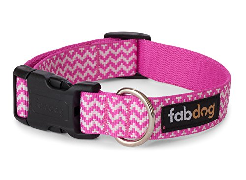 fabdog Chevron Stripe Dog Collar Pink (Medium)