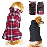 #3: Winter Dog Jacket for Cold Weather, Warm Doggie Coats Waterproof Windproof Reversible, Plaid Dog Sweater for Small Medium Size Dogs, Red M