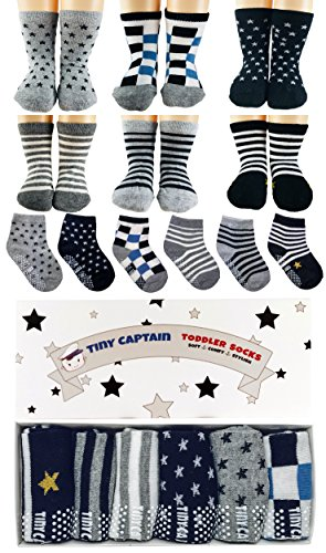 Tiny Captain Toddler Boy Non Slip Socks, Best Gift For 1-3 Year Old Boys Baby Boy Gifts Anti Slip Non Skid Grip Socks Birthday Gift Set (1 Gifts)