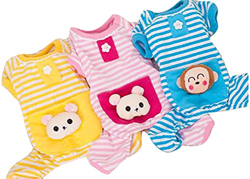 Woo Woo Pets Cute Animal Dog Cozy Pajams Dog Stripes Jumpsuit Pet Dog Clothes Pink S (Clothes Dogs)