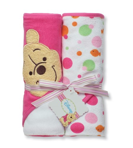Disney Pooh 2 Pack Hooded Towel, White / Pink, Health Care Stuffs