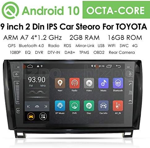 hizpo 9インチ Android 10 カーステレオ ラジオ ビデオプレーヤー トヨタ タンドラ 2007-2013 セコイア 2008-2014 GPSナビゲーション Can-Bus Mirrorlink Bluetooth OBD2 マルチタッチスクリーン