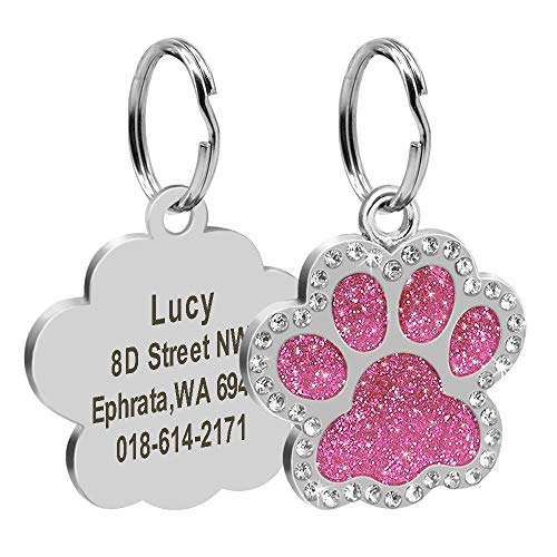 - Didog Glitter Rhinestone Paw Print Custom Pet ID Tags,Crystal Stainless Steel Personalized Engrave ID Tags Fit Small Medium Large Dogs and Cats,Pink