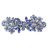 Faship Gorgeous Blue Crystal Flower Barrette Clip