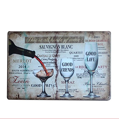 Hot Good Wine Metal Sign Tin Signs Retro Shabby Wall Plaque Metal Poster Plate 20x30cm Wall Art Plate Coffee Shop Pub Bar Home Hotel Decor