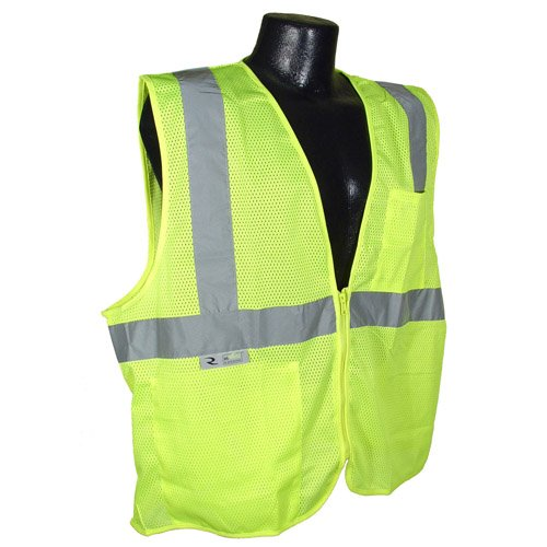 Radians SV2ZGMXL Polyester Mesh Economy Class 2 High Visibility Vest with Zipper Closure, X-Large, -