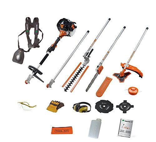 TIMBERPRO 5in1 52CC Petrol Long Reach Multi Function 5 IN 1 Garden Tool. Includes : Hedge Trimmer, Strimmer, BrushCutter, Chainsaw & Extension Pole with Extra Brushcutter Blades by T4Tools