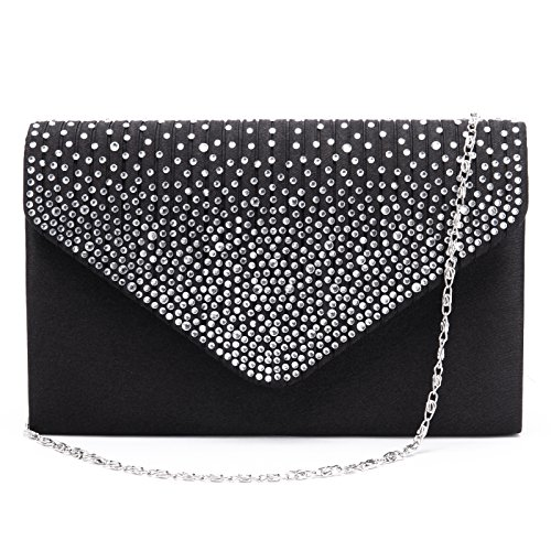 Prom Satin Bag Ladies Large Party Bridal Diamante Women Envelope Evening Clutch qx0nzwEHn