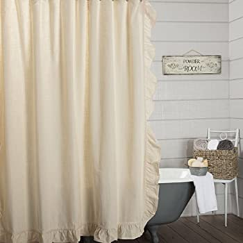 Ashley Natural Ruffled Shower Curtain 72x72 Farmhouse Style Bathroom Decor