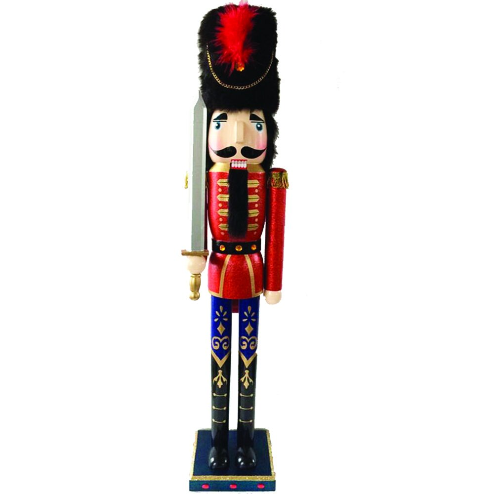 Christmas Nutcracker Figure Soldier Beautiful Hand Painted Gold Details Fur Hat and Feathers Wood 36 Inch