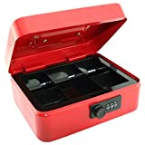 8' Cash Box with Combination Lock and Removable 5 Section Coin Tray - RED
