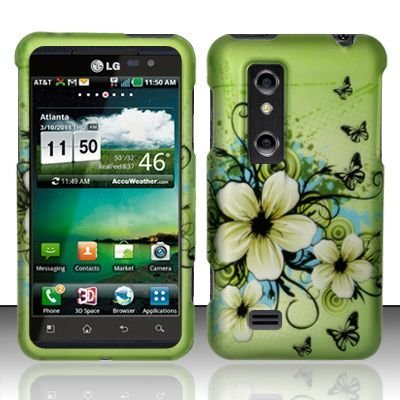 Rubberized green Hawaiian Flowers Snap on Design Case Hard Case Skin Cover Faceplate for LG Thrill 4G P925 ()