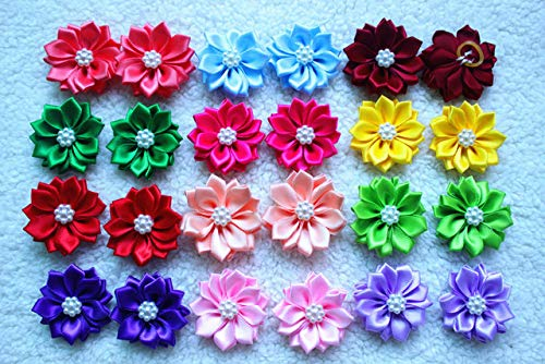ONE2T 20pcs/pack 10pairs Dog Hair Bows Rubber Bands Petal Flowers Bows Pearls Hair Pet Dog Grooming Bows Dog Hair Accessories