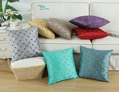 Large Product Image of CaliTime Pack of 2 Cushion Covers Throw Pillow Cases Shells for Home Sofa Couch 18 X 18 Inches, Modern Diamonds Shape Geometric Chain Embroidered, Teal
