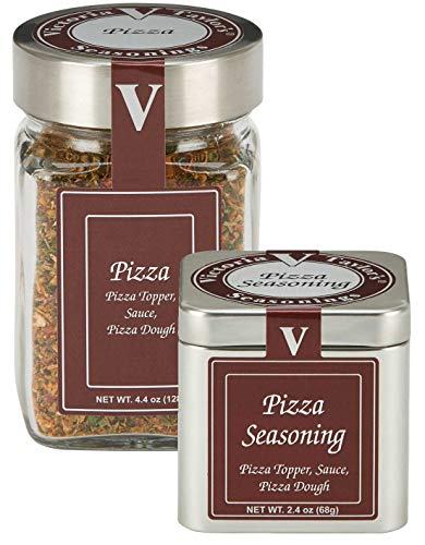 Paprika Sauce Recipe - Pizza Seasoning - Victoria Taylor's Seasonings 1.9oz Tin - Garlic, Italian Herbs, Chili pepper flakes | Put on your dough and sauce - Makes excellent eggplant parmesan!