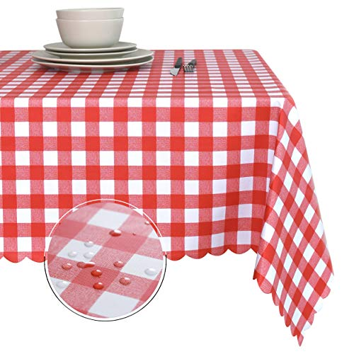 Obstal 100% Waterproof PVC Table Cloth, Oil-Proof Spill-Proof Vinyl Rectangle Tablecloth, Wipeable Table Cover for Outdoor and Indoor Use]()