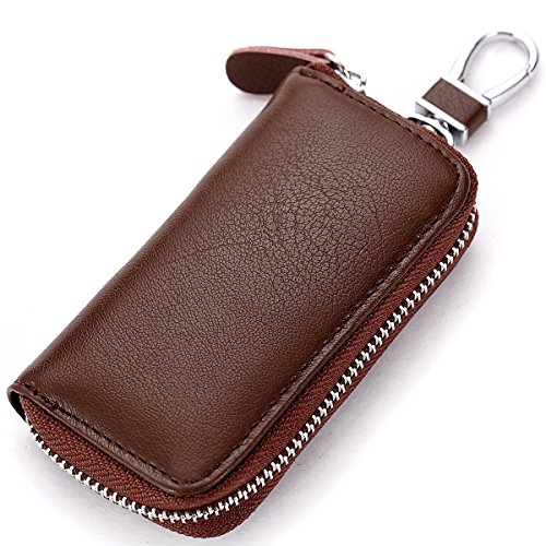 Lecxci Zipper Hanging Leather Keychain