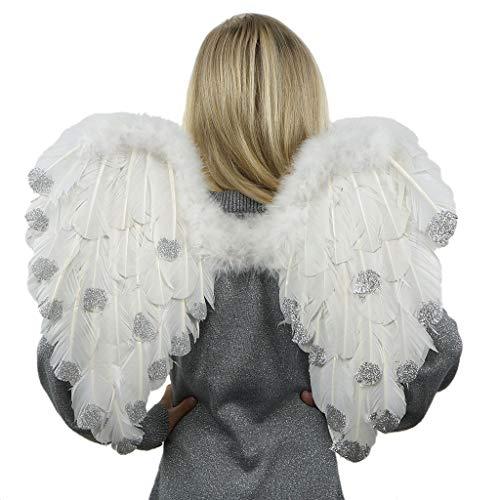 Plumas de Zucker Productos decorativos con puntas de plata alas de ángel de plumas, tamaño mediano, color blanco