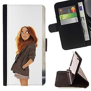 BullDog Case - FOR/LG G3 / - / girl drawing white redhead kids smart /- Monedero de cuero de la PU Llevar cubierta de la caja con el ID Credit Card Slots Flip funda de cuer