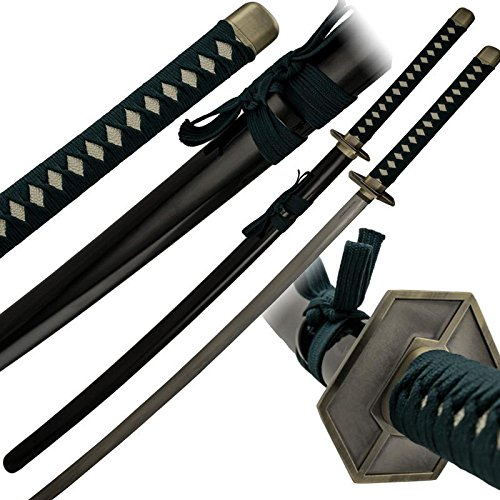 TIGER USA Forest Green Fabric Wrapped Katana and Scabbard Green Samurai Sword Made Well