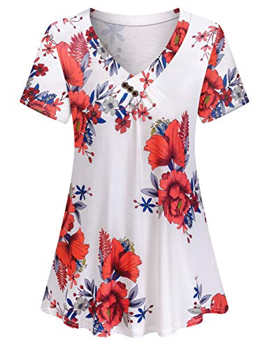 Viracy Floral Tops for Women, Girls Summer Blouses for Women 2019 Short Sleeve V-Neck Casual Flowy Tunic Shirt (Medium, -