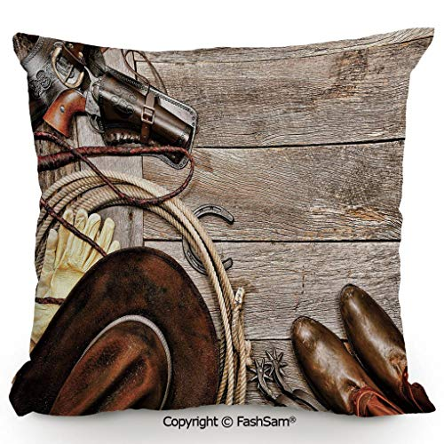 FashSam Throw Pillow Covers American Traditional Ranching Gear on Weathered Wood Planks Revolver Holster Lasso Decorative for Couch Sofa Home Decor(18