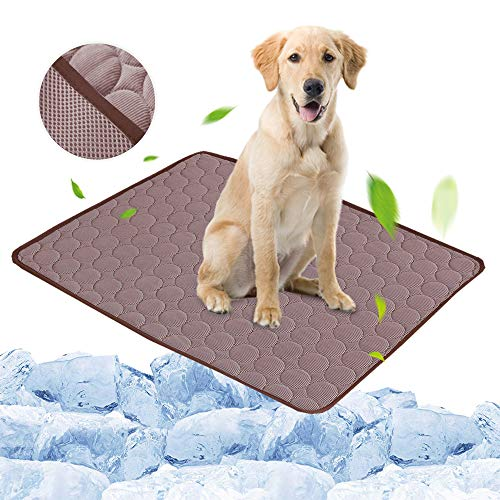 FOONEE Ice Silk Mat Pet Cooling, Non Sticking Pet Dog Self Cooling Mat Pad, Washable Breathable Summer Cooling Mat Pet Cooling Blanket for Cats and Kennels, Crates, Beds, Travel, Couch, Car Seat