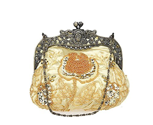 Beaded Handbag Satin Women's Purse Floral Evening Handbag for Party Gold Vintage Wedding 1qqx5w8F