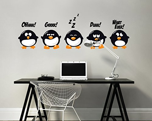 - Bad Attitude Penguins - Vinyl Wall Decal - Custom Wall Sticker