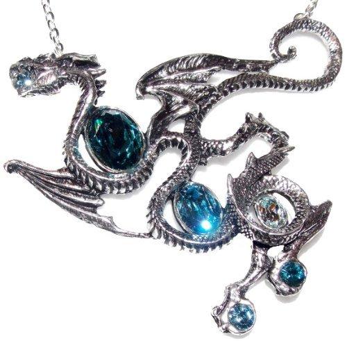Alchemy Gothic Aqua Dragon Pendant