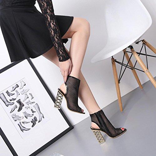 femeninos zapatos alto alto gruesas crystal tacón los singles de los rocío zapatos Gruesas toe singles black sandalias como con nuevo de con femeninos tacón Xx6Tq0n