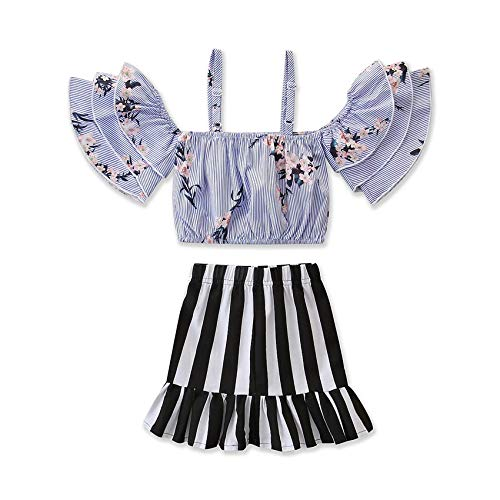 Toddler Baby Girl Floral Halter Ruffled Outfits Set Strap Crop Tops+Short Pants 2 PCS Clothes Set (Floral Striped, 1-2 Years) ()