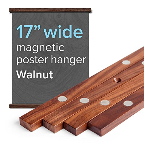 """17"""" Wide Magnetic Poster Frame Hanger in Walnut - Solid Wood and Magnets Strong Enough to Hang Any Length"""