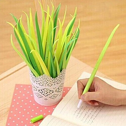GOODCULLER Pack of 12 Forest Yellow Green Grass-blade Ballpoint Black 0.38mm Cartoon Fresh Star Diamond Color Gel Pen for Art, Crafts, Office & School Supplies and More