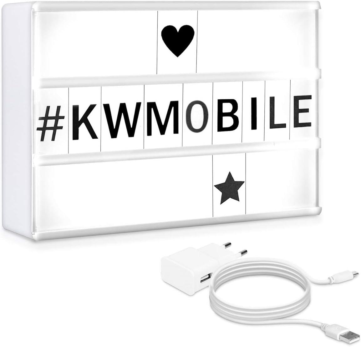 kwmobile Caja de luz cinematográfica LED A5 - Panel de luz con 126 letras símbolos números negros - Lámpara estilo cinema lightbox con enchufe: Amazon.es: Iluminación