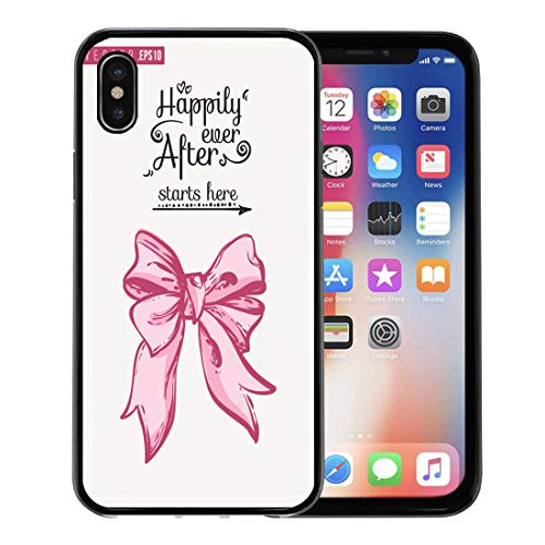 Emvency Phone Case for Apple iPhone Xs Case/iPhone X Case,Bridal Bow and Text Happily Ever After Starts Here Soft Rubber Border Decorative, Black ()