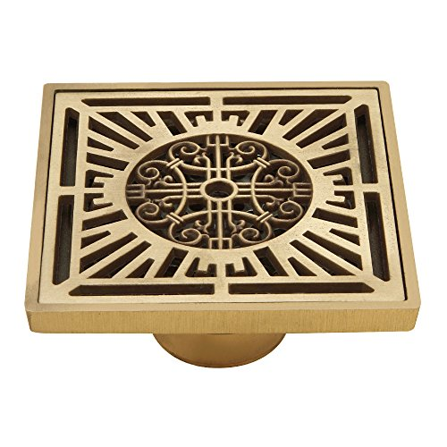 HARPOON Brass Shower Floor Waste Drain Cover Washer 4'' Square Bath, Art Carved Antique