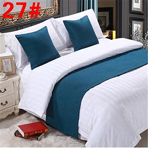 YIH Bed Runner Teal 3 Pcs Set, Luxury Bedding Scarf Pad Decorative Table Runner Bed Protector Slip Cover for Pets, 1 Bed Runner + 2 Cushion Cover, 94 Inches By 19 Inches (Table 1 2 Barrel Coffee)