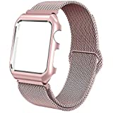 Crysendo Compatible with Apple Watch Band Milanese Sport Loop,Stainless Steel Mesh Strap with Protective Bumper Case, Compatible with iWatch Series 1,2,3,4. 44mm Rose Gold Milanese with Bumper