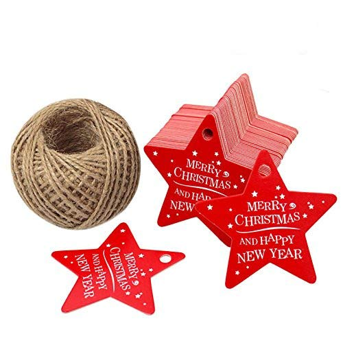 Christmas Gift Tags,Christmas Star Gift Tags with String,100 PCS Red Merry Christmas Gift Wrap Tags with 100 Feet Natural Jute Twine