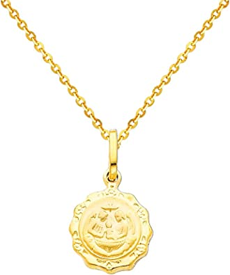 14k Tri-color Gold Religious Baptism Pendant with 1.2mm Cable Chain Necklace