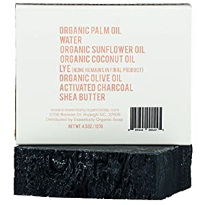 Unscented Charcoal Shea Butter Black Soap Bar | Certified Organic Ingredients, Vegan, GMO Free | Hypoallergenic Moisturizing Face, Shave, & Body Wash for Dry & Sensitive skin