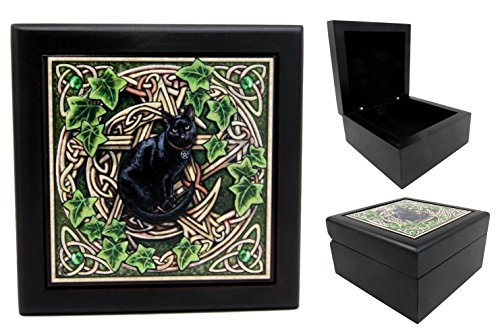 Atlantic Collectibles Celtic Black Cat Pentagram Wooden Tile Jewelry Box Trinket Hinged Personal Accessory Artist Lisa Parker