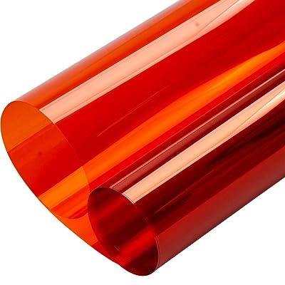 "HOHOFILM 35.4""x78.7"" Transparent Colorful Window Film Glass Decoration Stickers Glass Door Tint Self-Adhesive Sun Blocking Glass Film(Orange): Home & Kitchen"