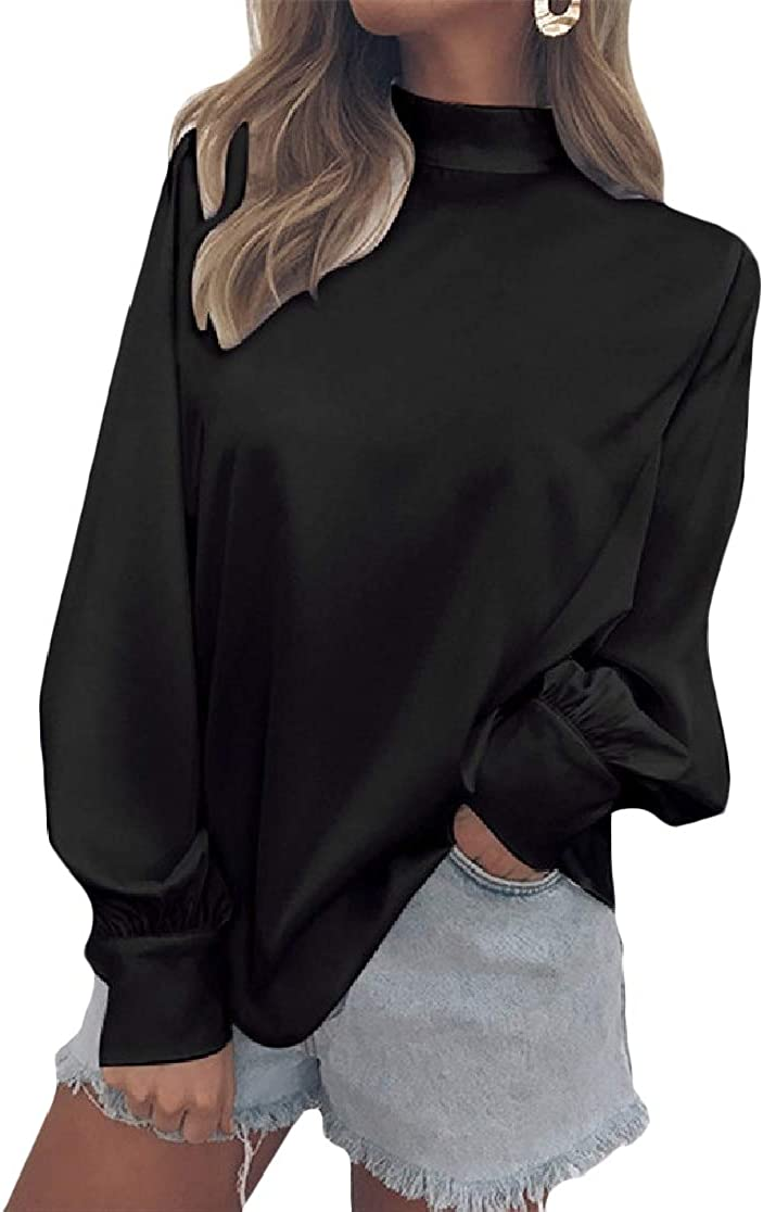 Joe Wenko Women Puff Sleeve Mock Neck Pullover Pure Color T-Shirt Top Tee